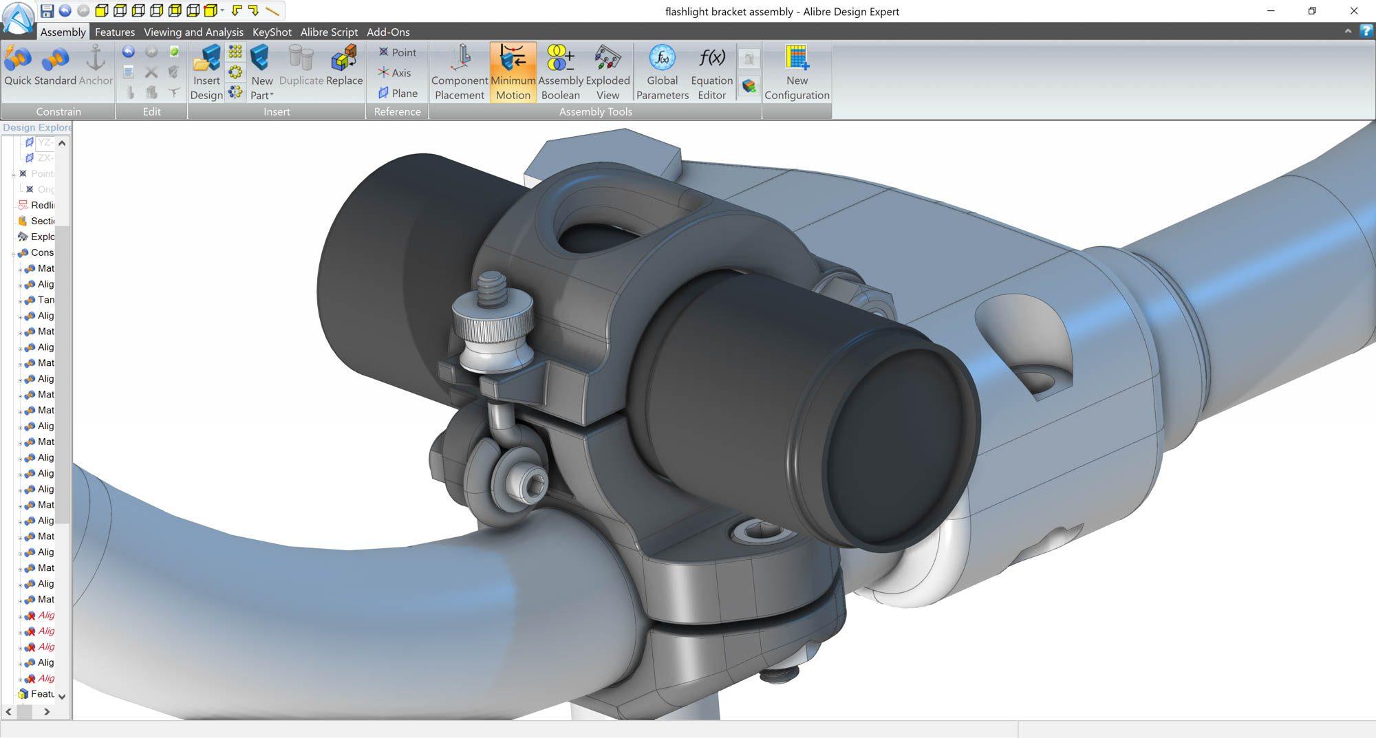 alibre-design-zrzut-ekranu-gotowe-produkty-uchwyt-mocowanie-na-latarke