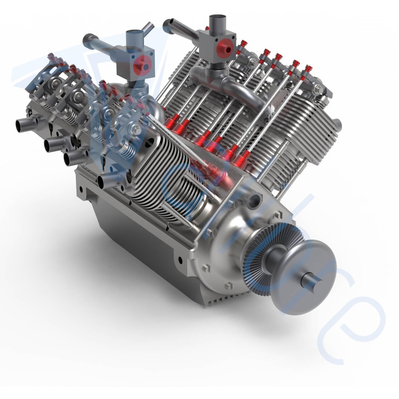 alibre design keyshot render fotorealistyczny rendering silnik spalinowy
