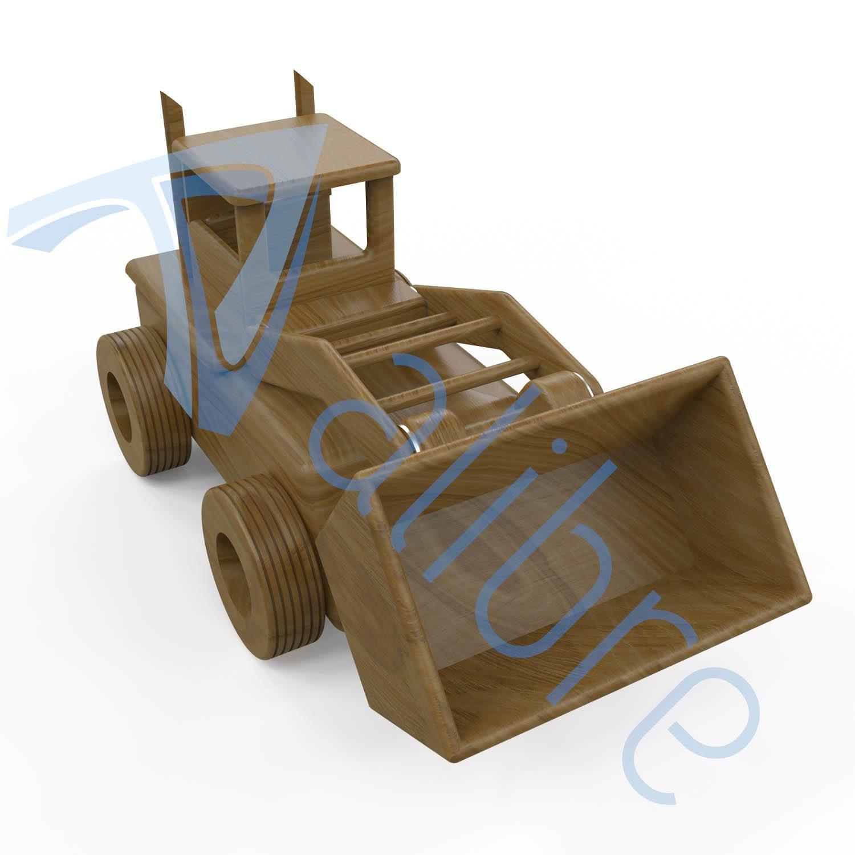 alibre design keyshot render fotorealistyczny rendering spychacz zabawka drewniana