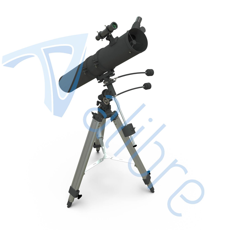 alibre design keyshot render fotorealistyczny rendering teleskop zestojakiem