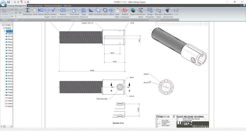 Dokumentacja techniczna Alibre Design wizualizacja gwintów
